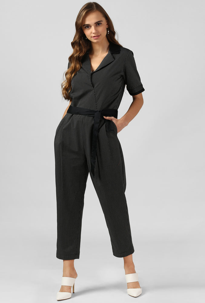 Black Dobby Double Pleat Jumpsuit
