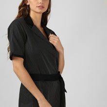 Load image into Gallery viewer, Black Dobby Double Pleat Jumpsuit