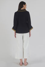 Load image into Gallery viewer, Black Poplin Chelsea Collar Top with Slit Cuff Back
