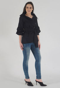 Black Poplin Notch Collar Crushed Sleeve Top side