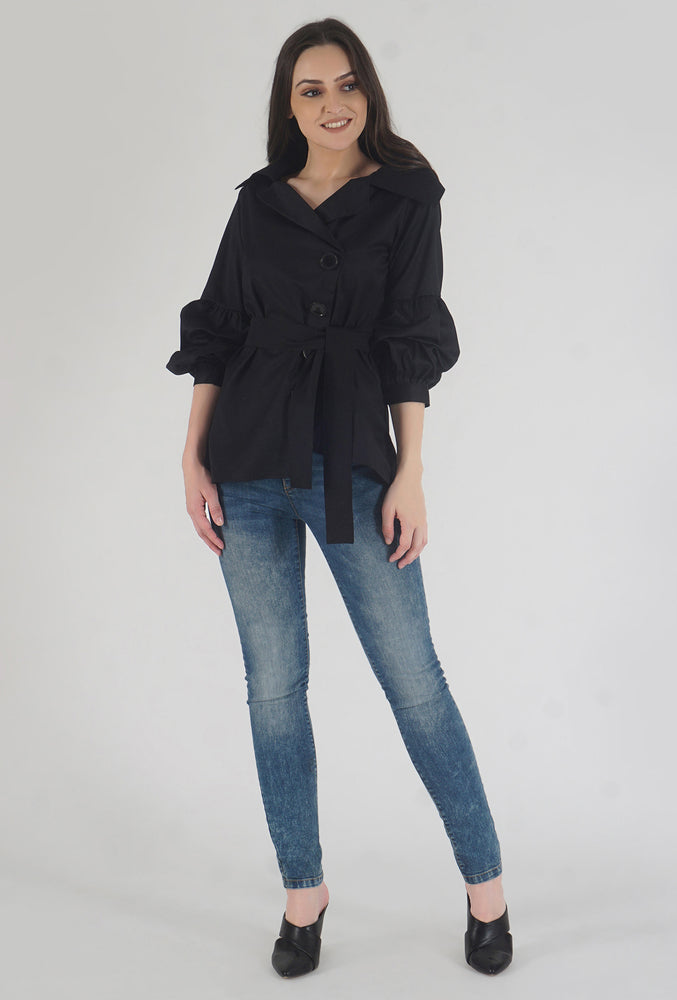 Black Poplin Notch Collar Crushed Sleeve Top Style