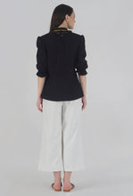 Load image into Gallery viewer, Black Poplin Victorian Collar Front Ruffle Top back