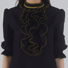Load image into Gallery viewer, Black Poplin Victorian Collar Front Ruffle Top detail