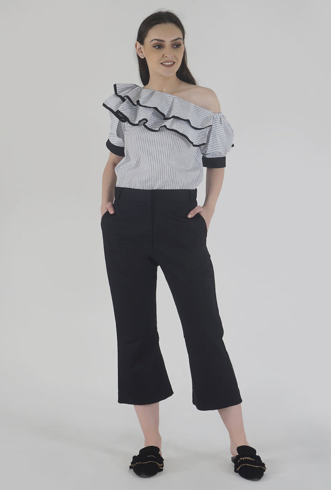 Black Wide Legged Culotte Pants style