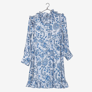 Blue Floral Print Frill Neck White Dress