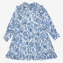 Load image into Gallery viewer, Blue Floral Print Frill Neck White Dress