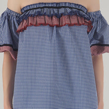 Load image into Gallery viewer, Blue Gingham Lantern Sleeve Frilled Off Shoulder Top detail