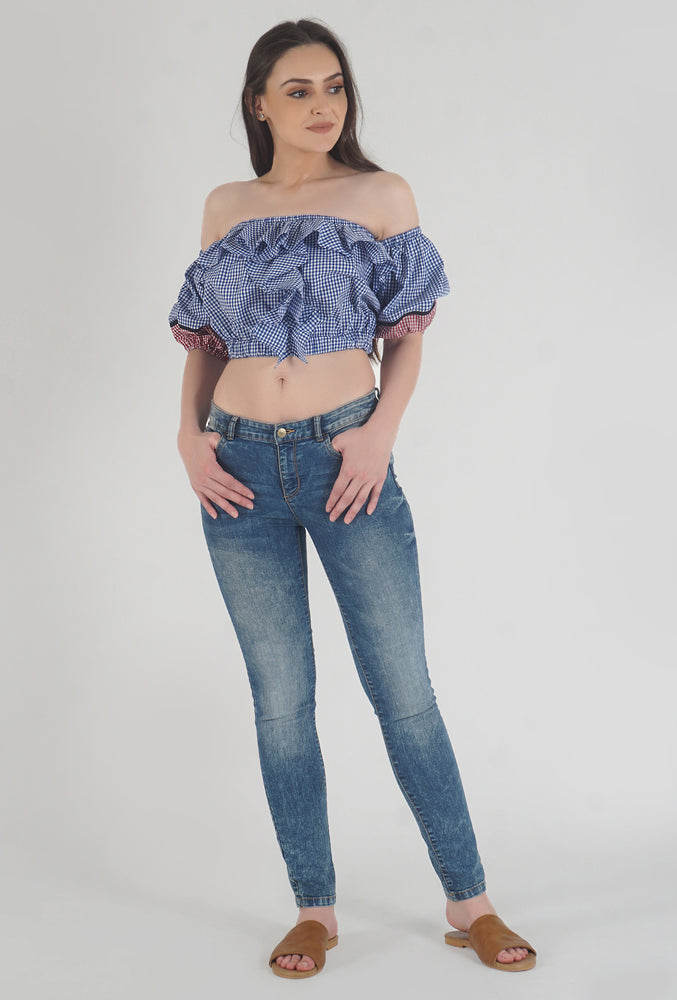 Blue Gingham Ruffle Crop Top Style