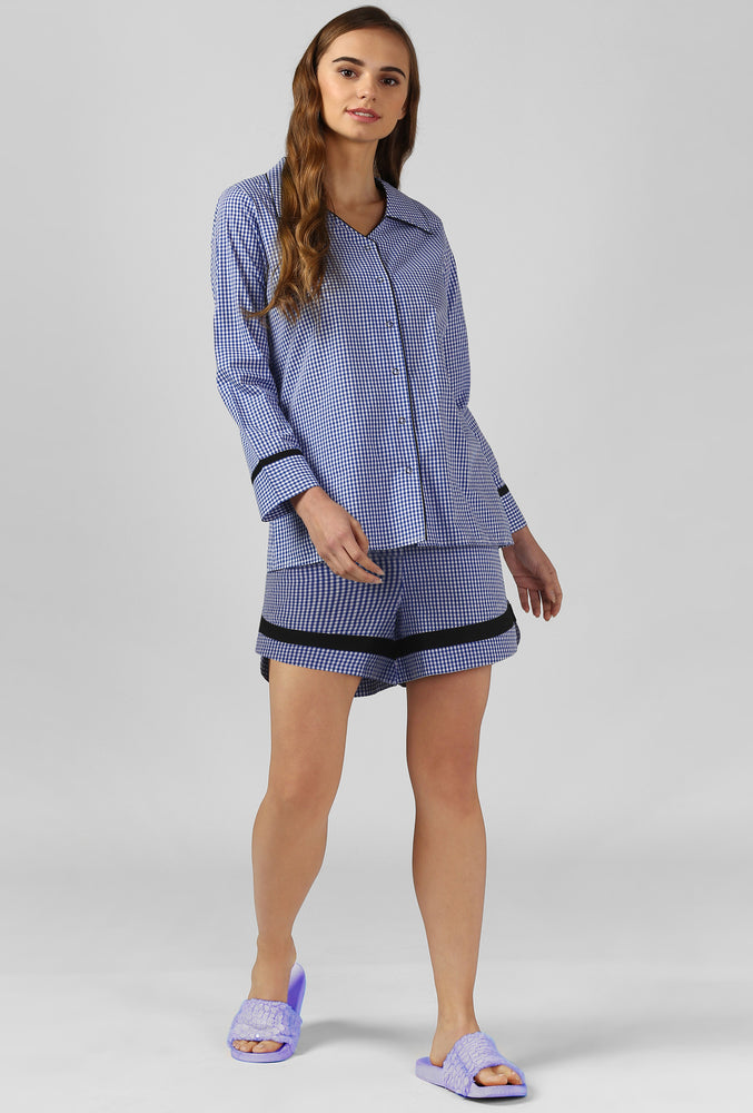 Blue Gingham Snuggle Up Night Suit