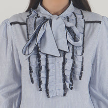 Load image into Gallery viewer, Blue Pinstripe Front Ruffle Pussy Bow Top detail