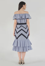 Load image into Gallery viewer, Blue-Red Pinstripe Chevron Detailed Ruffle Off Shoulder Midi Dress back