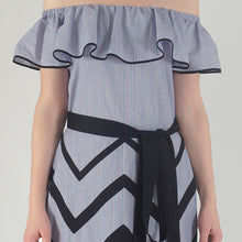 Load image into Gallery viewer, Blue-Red Pinstripe Chevron Detailed Ruffle Off Shoulder Midi Dress detail