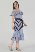Load image into Gallery viewer, Blue-Red Pinstripe Chevron Detailed Ruffle Off Shoulder Midi Dress side