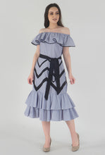 Load image into Gallery viewer, Blue-Red Pinstripe Chevron Detailed Ruffle Off Shoulder Midi Dress style