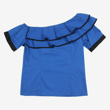 Load image into Gallery viewer, Blue Ruffle One Shoulder Stylish Kidswear Top