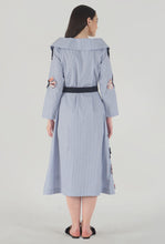 Load image into Gallery viewer, Blue Stripe Applique Detailed Portrait Dress back