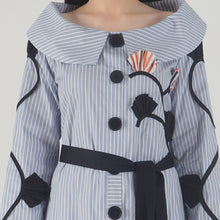 Load image into Gallery viewer, Blue Stripe Applique Detailed Portrait Dress detail