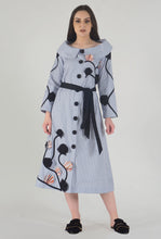 Load image into Gallery viewer, Blue Stripe Applique Detailed Portrait Dress style