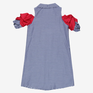 Blue Stripe Crushed Sleeve Mini Me Dress