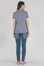 Load image into Gallery viewer, Blue Stripe Frilled Half Sleeve Collar top back