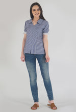 Load image into Gallery viewer, Blue Stripe Frilled Half Sleeve Collar top crop