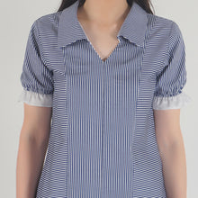 Load image into Gallery viewer, Blue Stripe Frilled Half Sleeve Collar top detail
