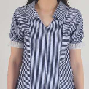 Blue Stripe Frilled Half Sleeve Collar top detail