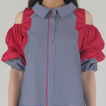 Load image into Gallery viewer, Blue Stripe Scalloping Detailed Cold Shoulder Shirt Dress detail