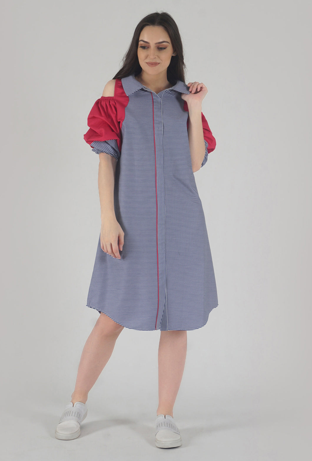 Blue Stripe Scalloping Detailed Cold Shoulder Shirt Dress style