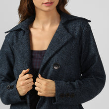 Load image into Gallery viewer, Blue Textured Felt Snuggle Up Long Coat