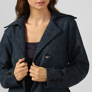 Blue Textured Felt Snuggle Up Long Coat