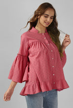 Load image into Gallery viewer, Coral Print Flounce Sleeve Top
