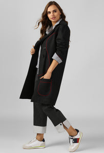 Dark Grey Piping Detail Long Coat