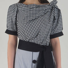 Load image into Gallery viewer, Draped Navy Gingham Midi Dress detail