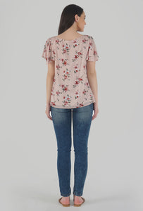 Floral Print Cowl Neck Peach Top back