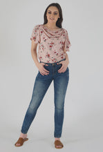 Load image into Gallery viewer, Floral Print Cowl Neck Peach Top crop