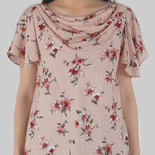 Load image into Gallery viewer, Floral Print Cowl Neck Peach Top detail