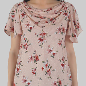 Floral Print Cowl Neck Peach Top detail