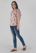 Load image into Gallery viewer, Floral Print Cowl Neck Peach Top side