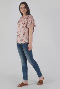 Floral Print Cowl Neck Peach Top side