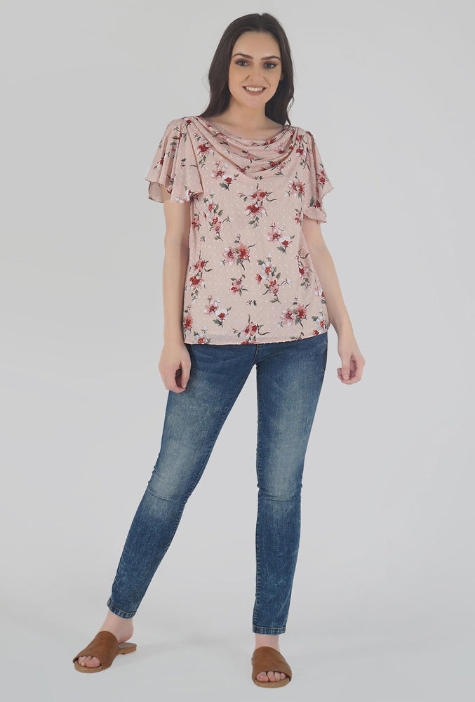 Floral Print Cowl Neck Peach Top style