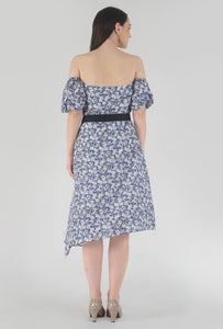 Floral Print Pleated Off Shoulder Asymmetrical Ionic Dress back