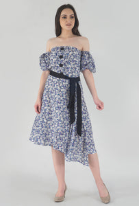 Floral Print Pleated Off Shoulder Asymmetrical Ionic Dress crop