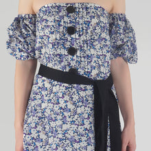 Load image into Gallery viewer, Floral Print Pleated Off Shoulder Asymmetrical Ionic Dress detail
