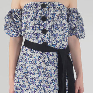 Floral Print Pleated Off Shoulder Asymmetrical Ionic Dress detail