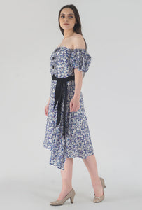 Floral Print Pleated Off Shoulder Asymmetrical Ionic Dress side