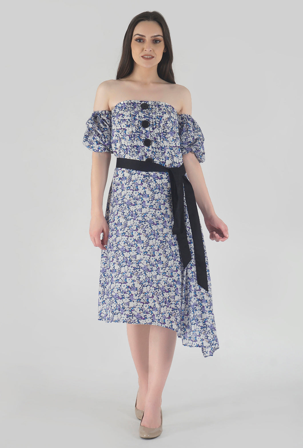 Floral Print Pleated Off Shoulder Asymmetrical Ionic Dress style
