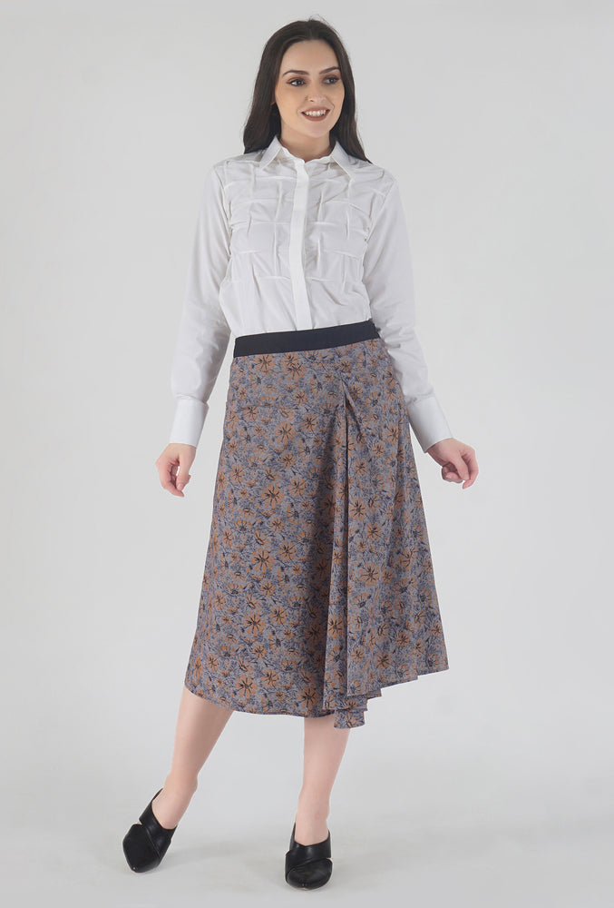Floral Print Shepherd's Check Draped Asymmetrical Skirt style