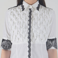Load image into Gallery viewer, Front Textured Lace Detailed White Shirt detail