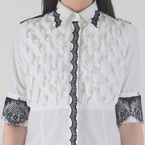 Front Textured Lace Detailed White Shirt detail